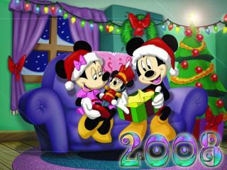 обои Новогоднии Мики-Маусы фото