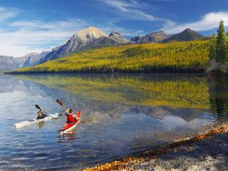 обои для рабочего стола: Scenic Travels, Bowman Lake, Glacier Park, Montana
