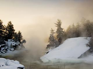 обои для рабочего стола: Wahnapitei River at Sunrise, Ontario, Canada