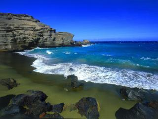обои Green Beach, Big Island, Hawaii фото