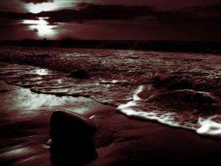 обои для рабочего стола: Мрачное морское побережье