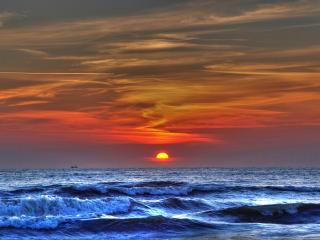 обои Океан на фоне заката фото