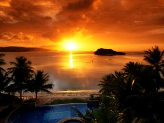 обои Закат на острове фото