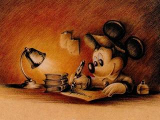 обои Микки пишет письмо фото