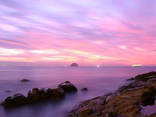 обои для рабочего стола: Фиолетовый закат на море