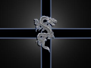 обои Серебристый дракон фото