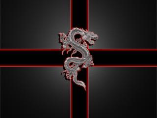 обои Красно-серебристый дракон фото