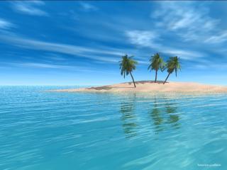 обои Остров вдалеке фото
