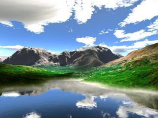 обои Зелень вокруг озера фото