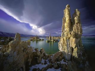 обои Tufa Towers, Mono Lake, California фото