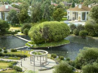 обои Озеро в саду и беседка фото