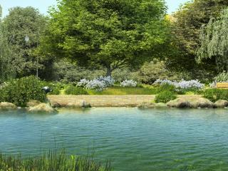 обои Ландшафтный дизайн с небольшим прудом фото