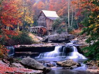 обои Домик осенью фото