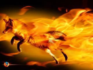 обои FireFox. лиса выпрыгивает из огня фото