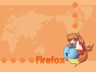 обои Firefox. девочка-лисенок фото