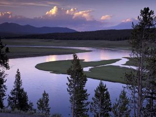 обои Yellowstone River Running Through Hayden Valley фото