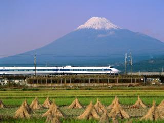 обои Bullet Train, Mount Fuji, Japan фото