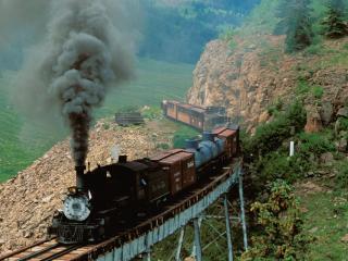 обои Cumbres & Toltec Scenic Railroad, Cascade Creek, Colorado фото