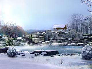 обои Озерцо зимой фото