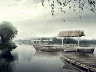 обои Озеро во время дождя фото