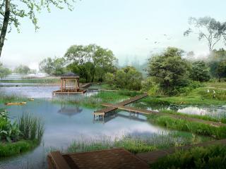 обои Мостки у озера фото