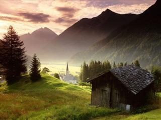 обои Деревушка в горах фото