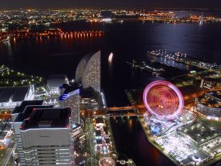 обои Искрящийся ночной город с высоты фото