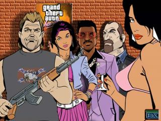 обои Gta vice city - толпа фото