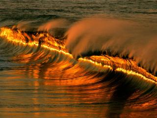 обои Golden Wave at Sunset, Puerto Escondido, Mexico фото