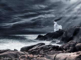 обои Девушка одна в шторм фото