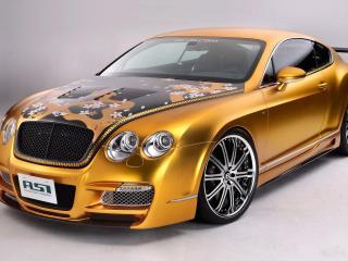 обои ASI Bentley W66 GTS Gold 2008 передок боком фото