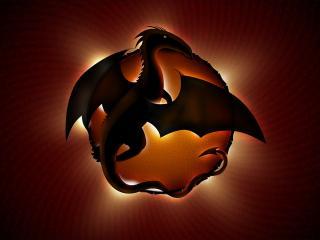 обои Дракон и солнце фото