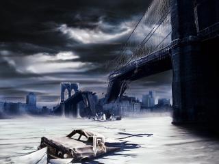 обои Катастрофа на мосту фото