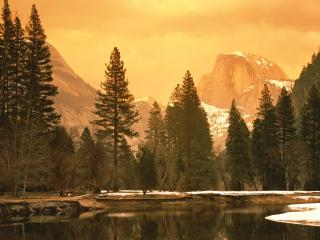 обои Half Dome and the Merced River, Yosemite National Park, Cali фото