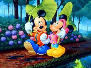 обои Мики Маус и Минни на прогулке фото