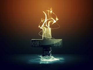 обои крест горит и тонет фото