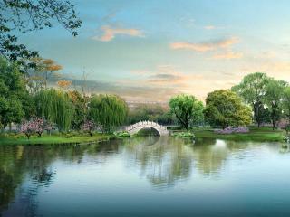 обои Парк и мостик над озером фото