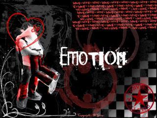 обои Обнимающаяся пара и надпись EMOTION фото