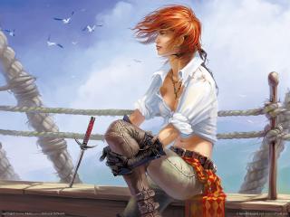 обои Sea Dogs - девушка на ветру фото