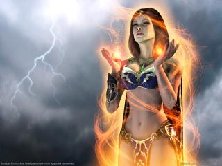 обои Everquest 2 - девушка с магией фото