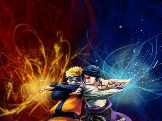 обои для рабочего стола: Naruto VS Sasuke
