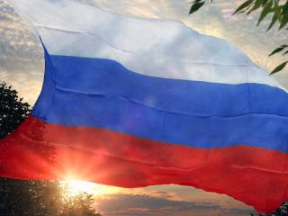 обои для рабочего стола: Флаг России и солнце