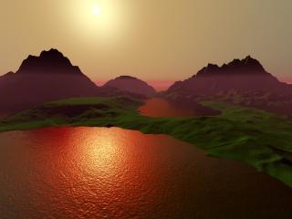 обои Закат на другой планете фото