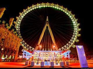 обои Ночной вид колеса обозрения, Лондон фото