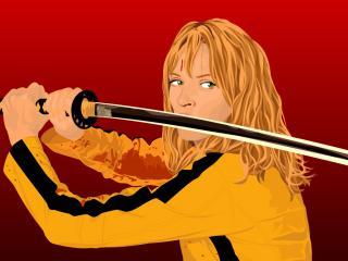 обои Kill Bill. героиня в боевой стойке фото