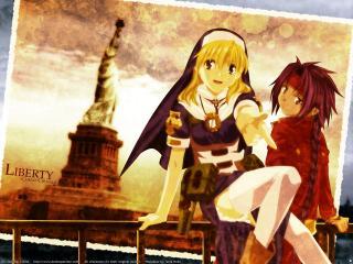 обои Крестовый поход Хроно - девушка и парень фото