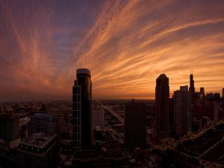 обои Закат над городом фото