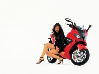 обои Gilera Nexus 500, Bike and Babe фото