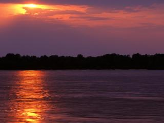 обои Sunset Over the Mississippi River, Arkansas фото