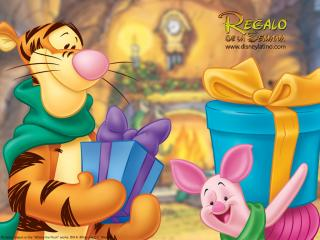 обои Тигра и пяточок с подарками фото